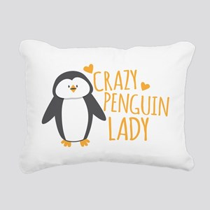 Crazy Penguin Lady Rectangular Canvas Pillow
