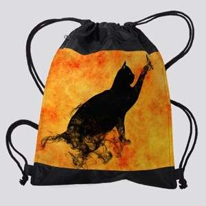 Smokey Cat on Orange Drawstring Bag