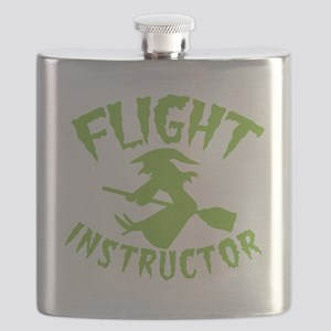Flight instructor wickedy witch on a broomst Flask
