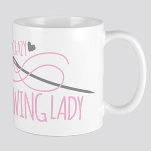 Crazy Sewing Lady Mugs