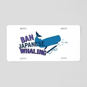 Ban Whaling Aluminum License Plate