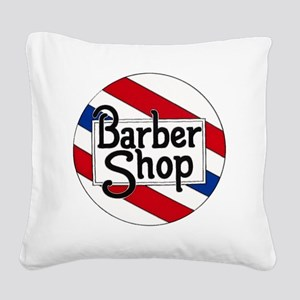 Round Barbershop Logo Square Canvas Pillow