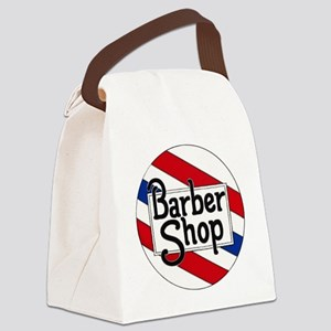 Round Barbershop Logo Canvas Lunch Bag