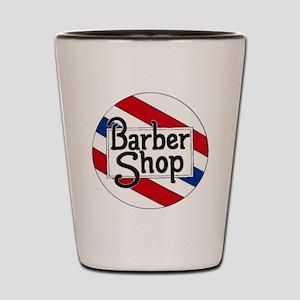 Round Barbershop Logo Shot Glass