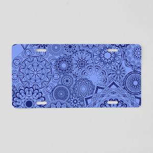 Snowflakes Blue Aluminum License Plate