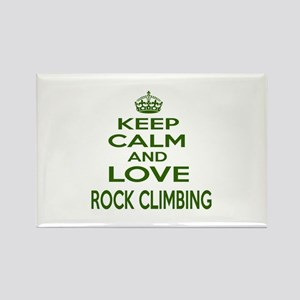 Keep calm and love Rock Climbing Rectangle Magnet