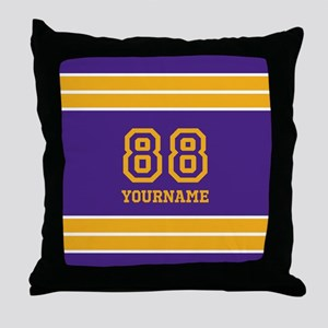 Purple and Yellow Stripes Personalize Throw Pillow