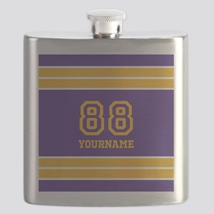 Purple and Yellow Stripes Personalized Flask