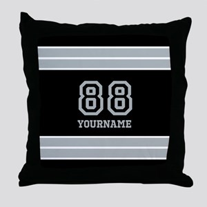Black and Silver Gray Stripes Persona Throw Pillow