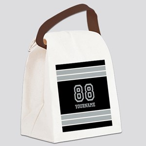 Black and Silver Gray Stripes Per Canvas Lunch Bag