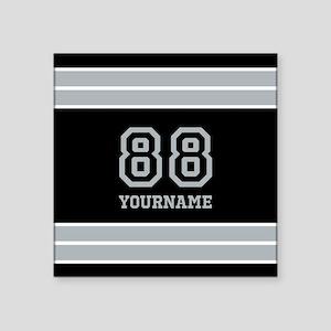 """Black and Silver Gray Strip Square Sticker 3"""" x 3"""""""