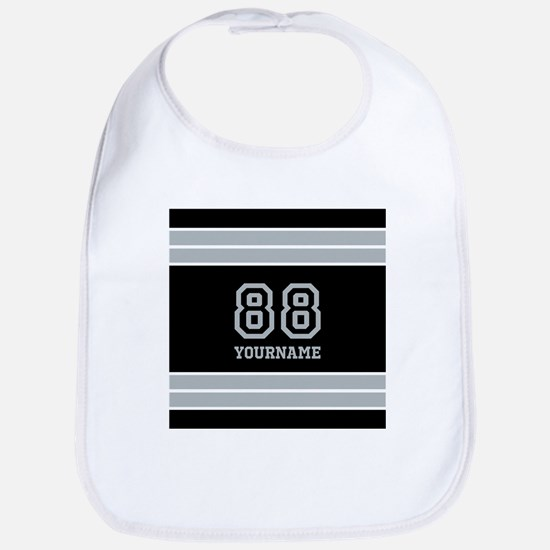 Black and Silver Gray Stripes Personalized Bib