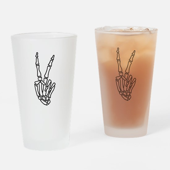 Peace skeleton hand sign Drinking Glass