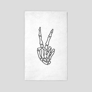 Peace skeleton hand sign Area Rug