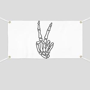 Peace skeleton hand sign Banner