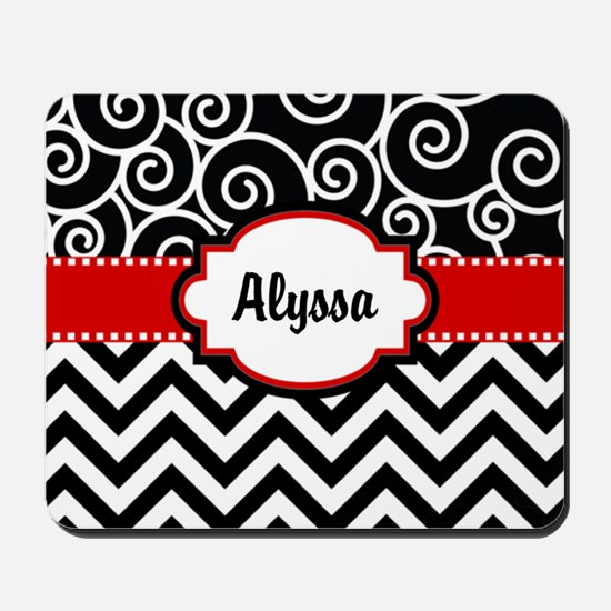 Black Red Swirls Chevron Personalized Mousepad