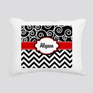Black Red Swirls Chevron Personalized Rectangular
