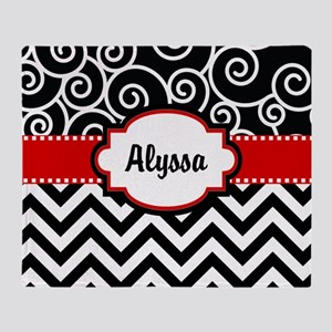 Black Red Swirls Chevron Personalized Throw Blanke