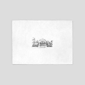 Rotunda Ink Sketch 5'x7'Area Rug