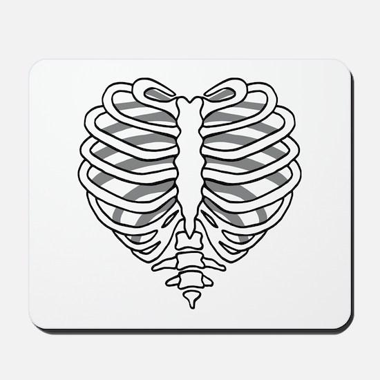 Skeleton rib cage heart Mousepad