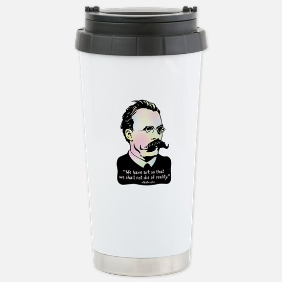 Nietzsche - Art v. Real Stainless Steel Travel Mug