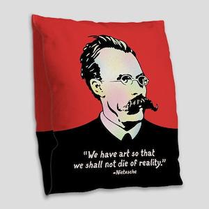 Nietzsche - Art v. Reality Burlap Throw Pillow
