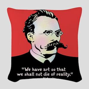 Nietzsche - Art v. Reality Woven Throw Pillow