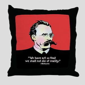 Nietzsche - Art v. Reality Throw Pillow