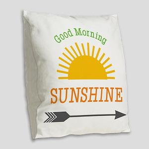 Good Morning Sunshine Burlap Throw Pillow