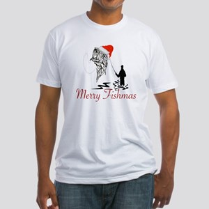 CHRISTMAS - MERRY FISHMAS Fitted T-Shirt