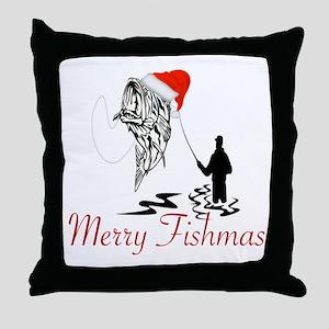 CHRISTMAS - MERRY FISHMAS Throw Pillow