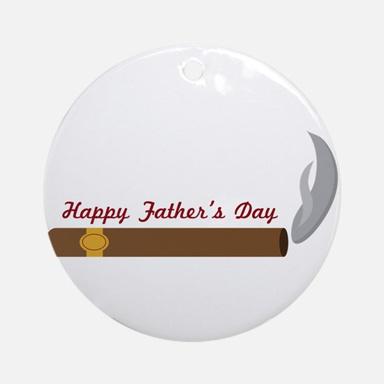 Fathers Day Cigar Round Ornament