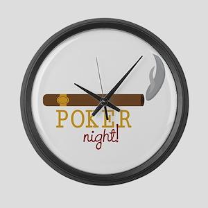 Poker Night Large Wall Clock