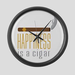 Cigar Happiness Large Wall Clock