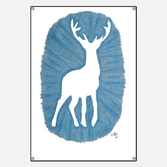 White Stag on Blue Banner