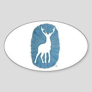 White Stag on Blue Sticker