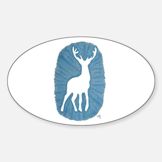White Stag on Blue Decal