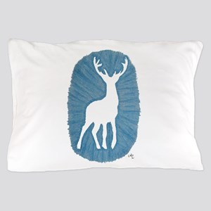 White Stag on Blue Pillow Case