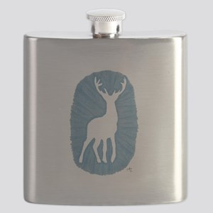 White Stag on Blue Flask