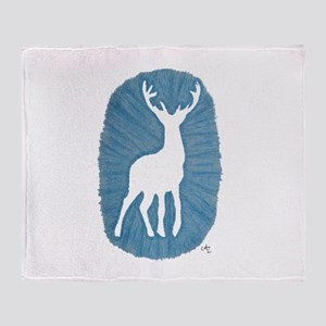 White Stag on Blue Throw Blanket