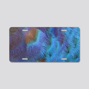 Blue Majic Peacock Feathers Aluminum License Plate