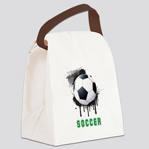 Abstract Ink Splotch with SOCCER Canvas Lunch Bag