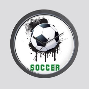 Abstract Ink Splotch with SOCCER ball a Wall Clock
