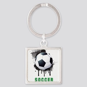 Abstract Ink Splotch with SOCCER ball an Keychains