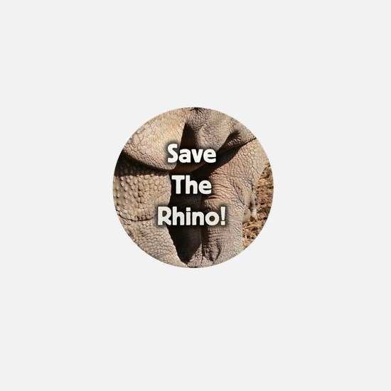 Save The Rhino! Mini Button