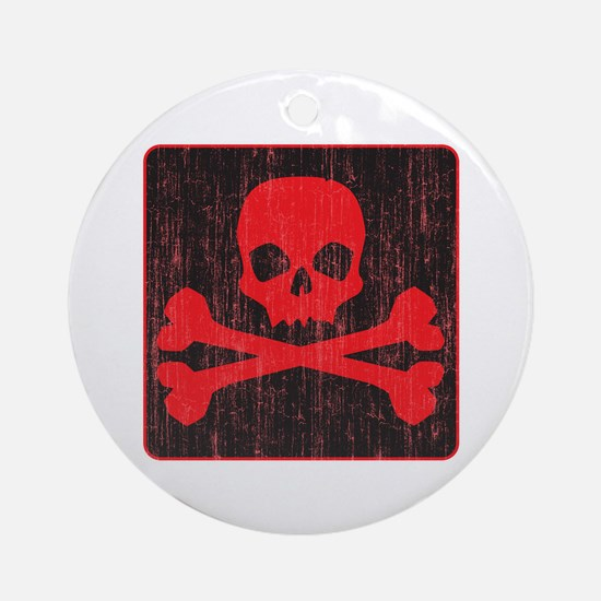 Red Pirate Skull Crossbones Ornament (Round)