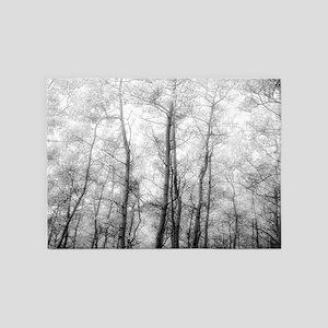Aspen Tree Forest, Black & White Ph 5'x7'Area Rug