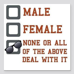"Funny Gender Neutral Square Car Magnet 3"" x 3"""