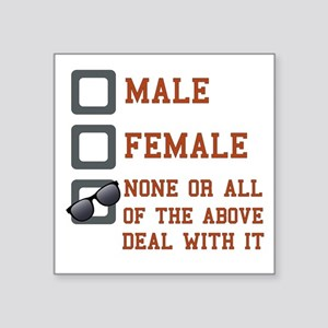 "Funny Gender Neutral Square Sticker 3"" x 3"""