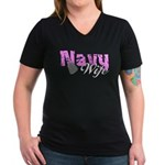 Navy Wife Women's V-Neck Dark T-Shirt
